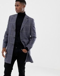 Серое шерстяное пальто в клетку Jack Wills Croften - Серый
