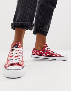 Красные кроссовки со сплошным принтом Converse x Hello Kitty Chuck Taylor Ox - Красный
