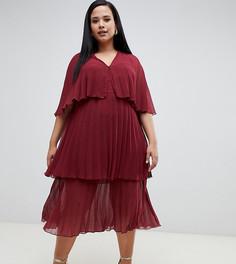 Многоярусное плиссированное платье миди ASOS DESIGN Curve - Розовый