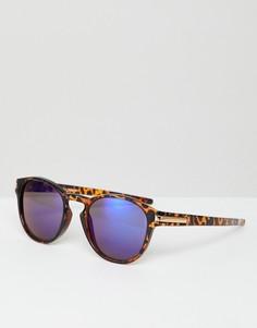 Солнцезащитные очки со звериным принтом и синими стеклами 7X - Коричневый