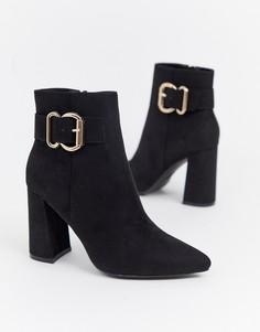 Черные ботинки на каблуке New Look - Черный