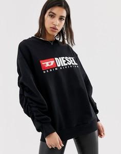 Свитшот со сборками на рукаве и логотипом Diesel Denim Division - Черный