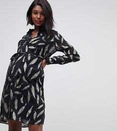 Прозрачное платье-рубашка с узором цвета металлик Mamalicious - Черный Mama.Licious