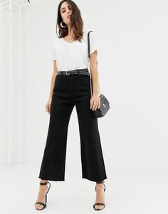 Укороченные джинсы с широкими штанинами и необработанным краем DL1961 Hepburn - Черный