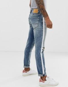 Узкие джинсы с рваной отделкой и лентами Jack & Jones Intelligence - Синий