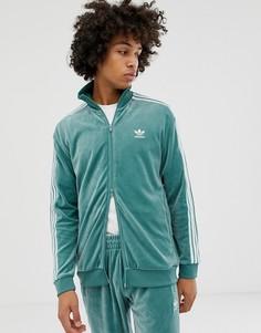 Зеленая велюровая спортивная куртка adidas Originals - Зеленый