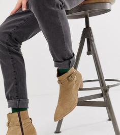 Замшевые ботинки челси в стиле вестерн на кубинском каблуке ASOS DESIGN - Светло-бежевый