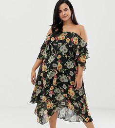 Многослойное платье-бандо миди с цветочным принтом ASOS DESIGN Curve - Мульти