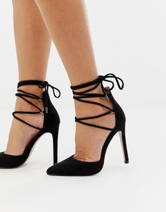 cc8ec2415 Черные туфли на каблуке с завязками Public Desire Classy - Черный