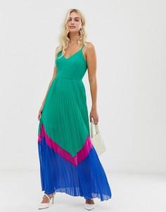 Платье макси в стиле колор блок с плиссированной юбкой ASOS DESIGN - Мульти