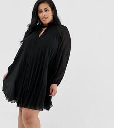 Плиссированное платье мини с завязкой на вороте ASOS DESIGN Curve - Черный