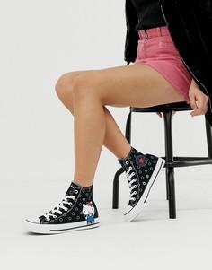 Высокие кроссовки с принтом Converse x Hello Kitty Chuck Taylor - Черный