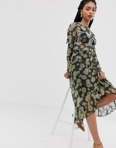Юбка миди с цветочным принтом Moves By Minimum - Мульти