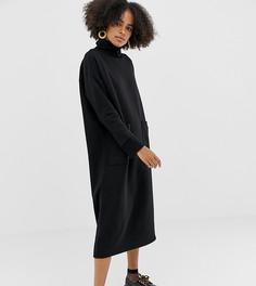Черное платье миди с отворачивающимся воротником и большими карманами Monki - Черный