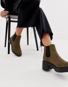 Массивные ботинки челси цвета хаки на каблуке New Look - Зеленый