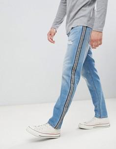 Суженные книзу джинсы с полосками по бокам Jack & Jones - Синий