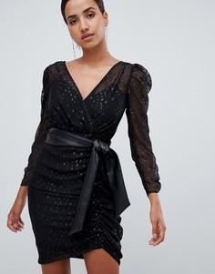 Черное платье мини с отделкой металлик и сборками Forever New - Черный
