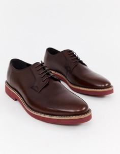 Коричневые кожаные туфли на шнуровке с толстой подошвой ASOS DESIGN - Коричневый