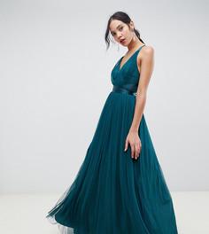 Премиум-платье для выпускного макси с ленточным поясом ASOS DESIGN Tall - Зеленый