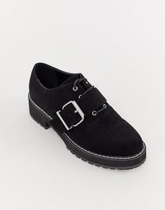 Туфли на плоской подошве со шнуровкой ASOS DESIGN - Черный