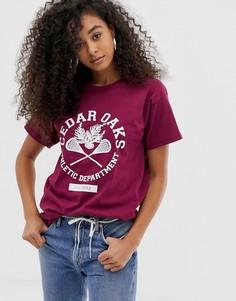 Свободная футболка с принтом в винтажном стиле Daisy Street cedar oaks - Красный