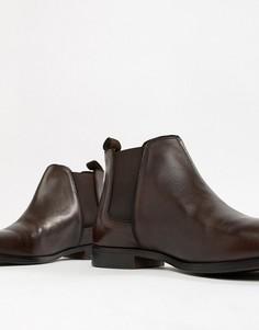 Коричневые кожаные ботинки челси с однотонной подошвой ASOS DESIGN - Коричневый