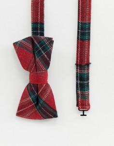 Красный галстук-бабочка в клетку тартан Twisted Tailor - Красный