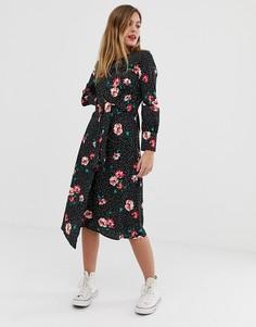 Платье с асимметричным запахом и цветочным принтом Influence - Черный