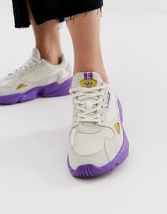 Серовато-белые с фиолетовым кроссовки adidas Originals TFL Falcon - Белый