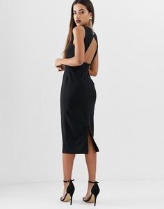 Платье миди с V-образным вырезом и черепаховой пряжкой ASOS DESIGN - Черный