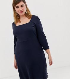 Короткое приталенное платье с квадратным вырезом Glamorous Curve - Темно-синий