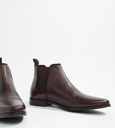 Коричневые кожаные ботинки челси для широкой стопы с однотонной подошвой ASOS DESIGN - Коричневый