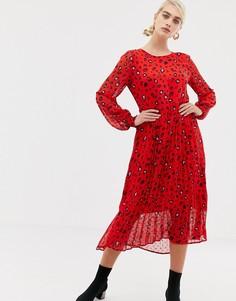 Платье миди с абстрактным леопардовым принтом Selected Femme - Красный