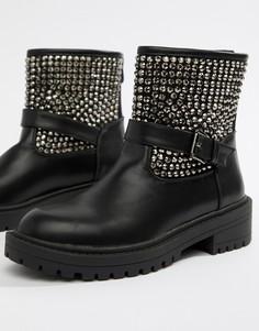 Броские байкерские ботинки с заклепками RAID Casper - Черный