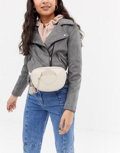 Кремовая сумка-кошелек на пояс с карманом спереди и цепочкой Glamorous - Кремовый