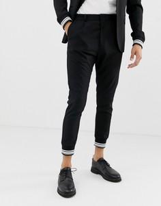 Строгие черные брюки с полосками на манжетах Solid - Черный