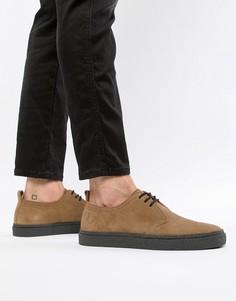 Светло-коричневые низкие замшевые туфли Fred Perry Linden - Коричневый