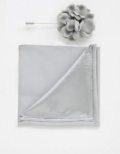 Платок для нагрудного кармана и булавка с цветком Devils Advocate - Серебряный