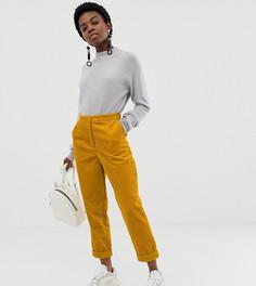 Зауженные вельветовые брюки с отворотами ASOS DESIGN Petite - Желтый