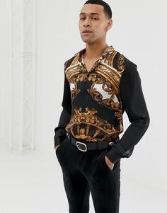 Рубашка с длинными рукавами и принтом в стиле барокко Jaded London - Черный