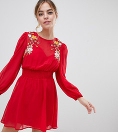 Короткое приталенное платье с вышивкой ASOS DESIGN Petite - Красный