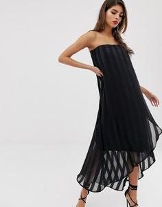 Платье-бандо миди в прозрачную и непрозрачную полоску ASOS DESIGN - Черный
