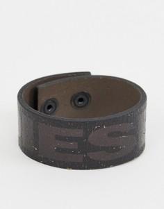 Черный кожаный браслет с логотипом Diesel - Черный