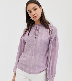 Блузка с завязкой на воротнике и манжетах из ткани добби в горошек Glamorous Tall - Фиолетовый