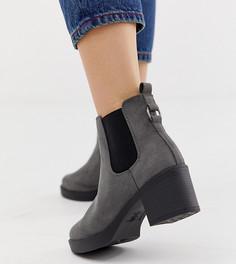 Серые ботинки челси для широкой стопы на массивном каблуке New Look - Серый