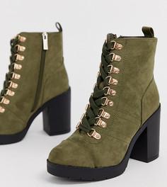 Ботинки цвета хаки для широкой стопы на шнуровке и каблуке River Island - Зеленый