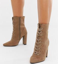 Полусапожки для широкой стопы на каблуке и шнуровке ASOS DESIGN Elicia - Бежевый