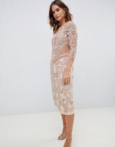 Платье миди розового цвета с декоративной отделкой A Star Is Born - Розовый