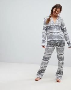 Пижама из 100% модала с традиционным узором Фэйр-Айл ASOS DESIGN Christmas - Мульти