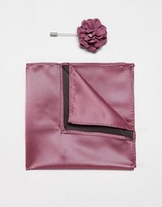 Платок для нагрудного кармана и булавка с цветком Devils Advocate - Розовый
